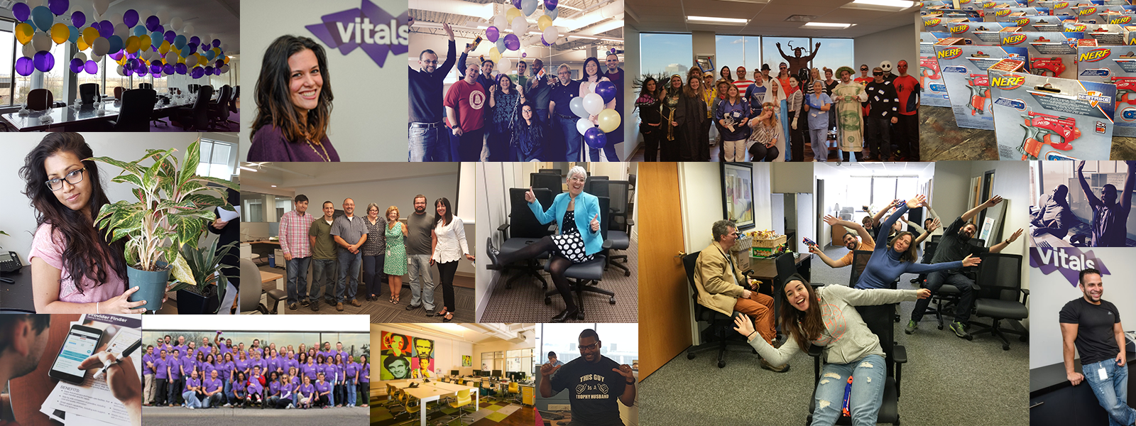 Collage of Vitals employees at work and at play!